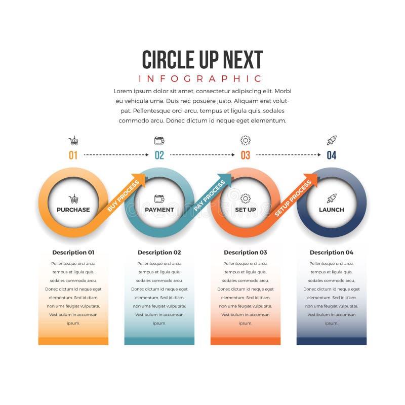 Circle Up Next Infographic. Vector illustration of circle up next infographic design element vector illustration