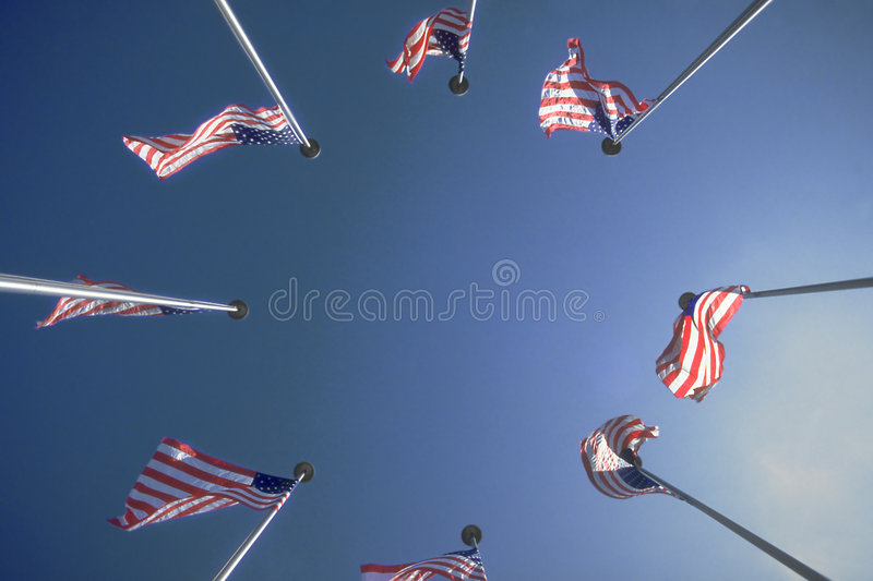 Circle of US Flags royalty free stock images