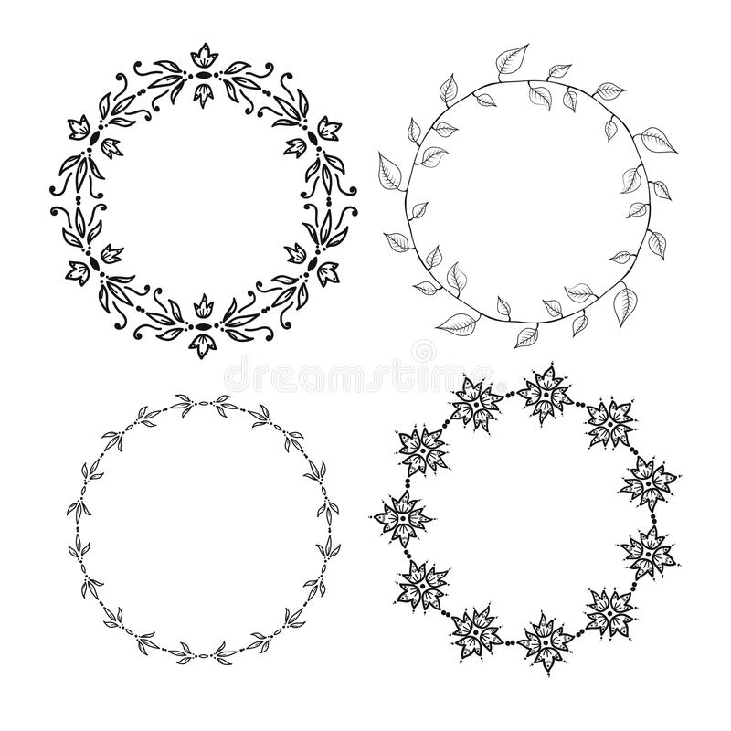 Circle vector brushes. Four graphic ink circle vector brushes set vector illustration