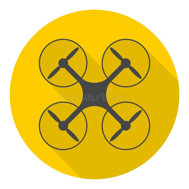 Circle vector icon for quadrocopter, silhouette quadrocopter a top view icons set with long shadow stock illustration