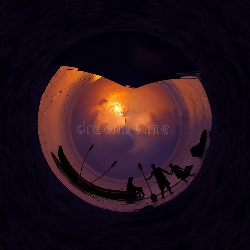 The circle views of family camping and kayaking on the beach. royalty free stock images