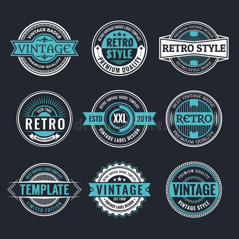 Circle Vintage and Retro Badge Design Collection stock illustration