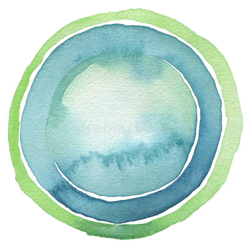 Circle watercolor painted button background. Isolated. stock photography