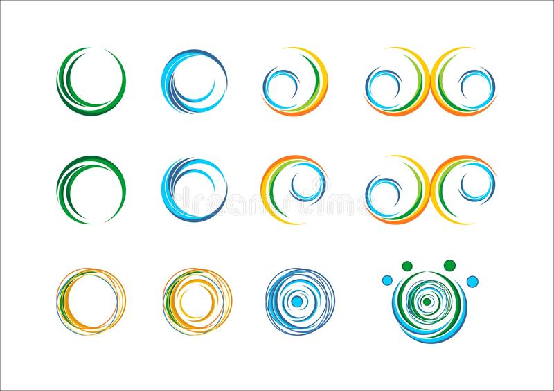 Circle wave water logo spring plant sphere leaves wings flame abstract sun whirlpool splashes infinity set around logo icon vector. Design stock illustration
