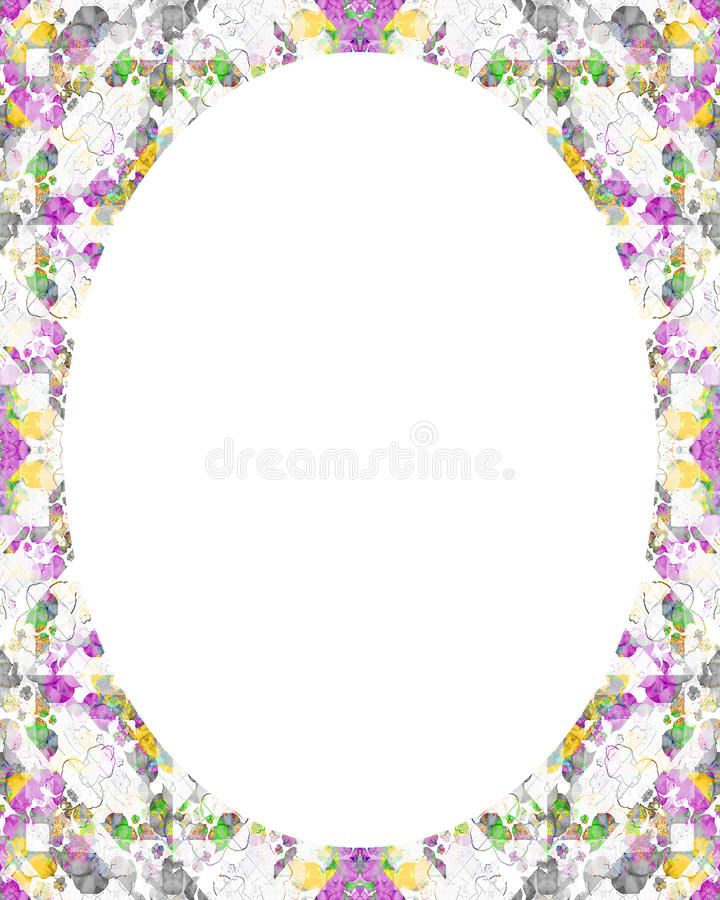 Circle White Frame Background with Decorated Borders vector illustration