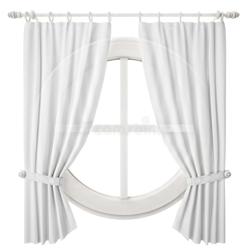 Circle window frame with curtain isolated on white for Tende frama