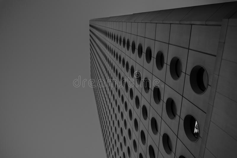Circle Windows on a futuristic building royalty free stock images