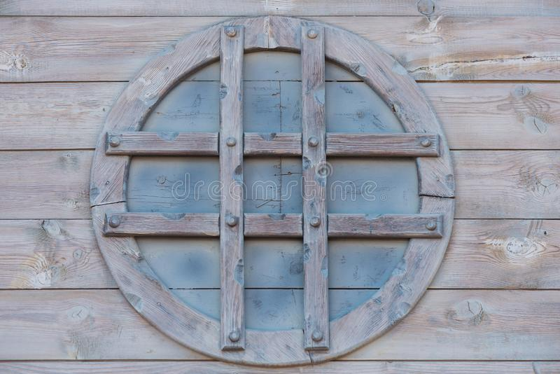 Circle wooden window royalty free stock photography