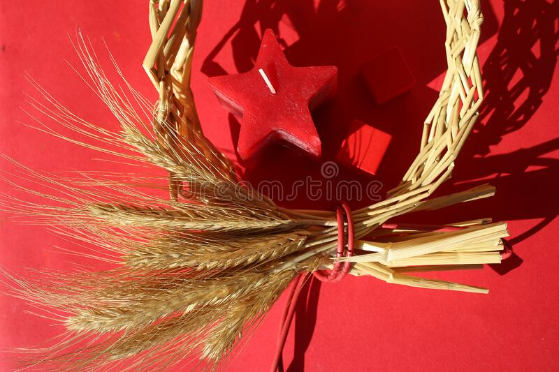 Circle wreath a bundle of wheat with star candle, two red paper hearts, valentine day, love and romance, prophecy royalty free stock photos