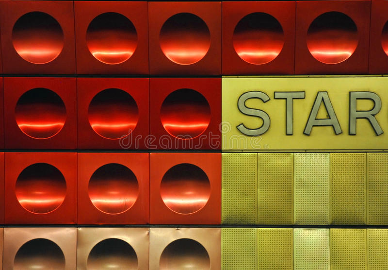 Circled metal texture. Red and golden circled metallic texture with the word star royalty free stock images