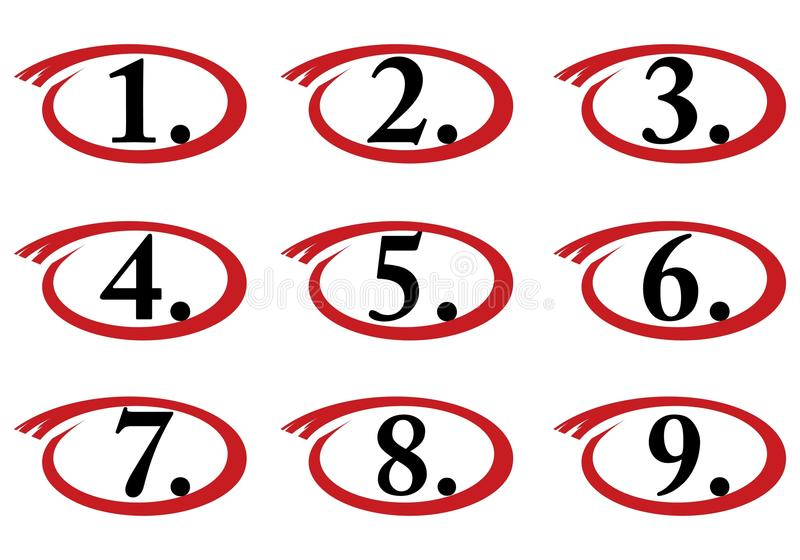 Circled Numbers  One To Nine Stock Illustration