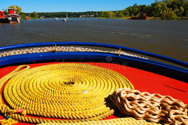 Circled Rope. On a historic tug boat near the Hudson River stock photos