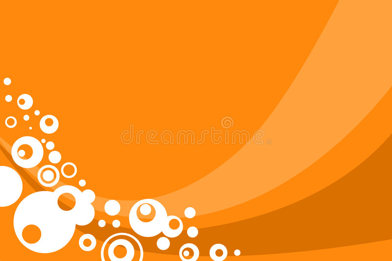 Circles background. Orange circles abstract background with curves royalty free illustration