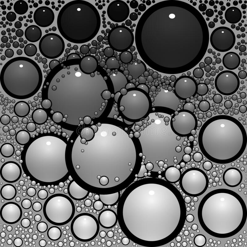 Circles & Bubbles Black White Grey Shades Abstract Background vector illustration