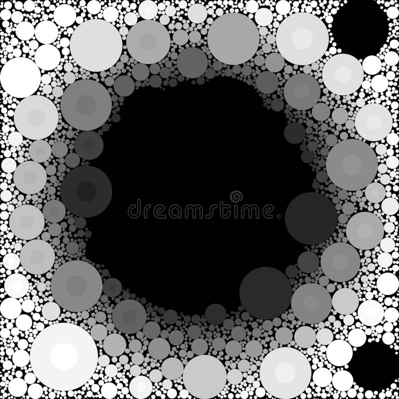 Circles & Bubbles Black White Grey Shades Abstract Background stock illustration