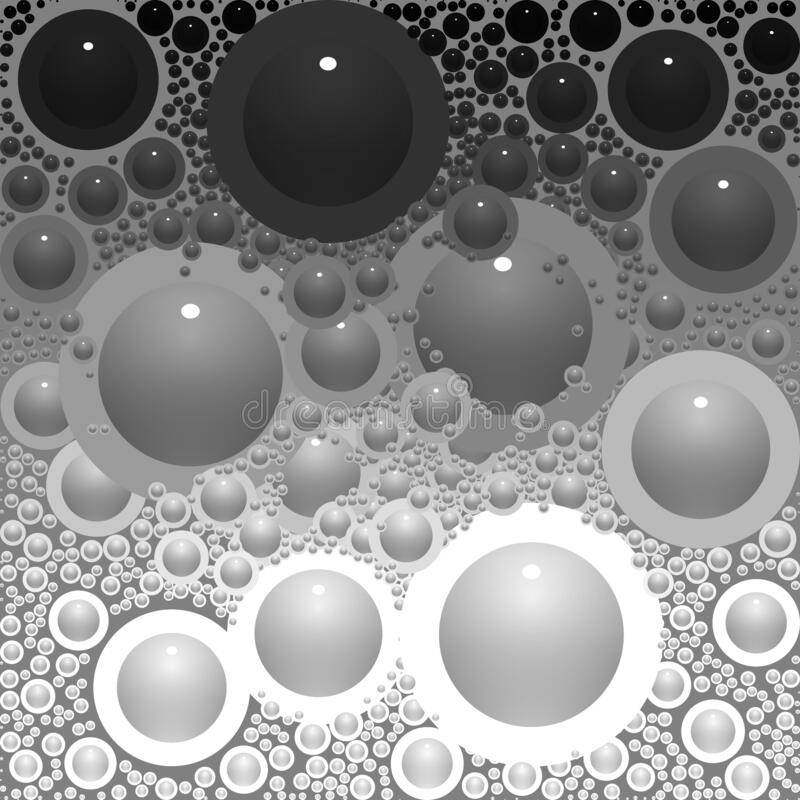 Circles & Bubbles Black White Grey Shades Abstract Background royalty free illustration