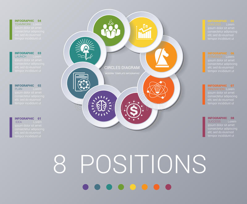 Circles diagram Elements Template infographics 8 positions royalty free illustration