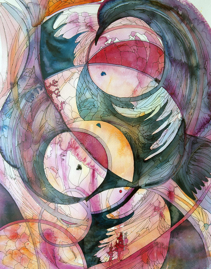 Circles and feathers - abstract watercolor and ink painting stock illustration