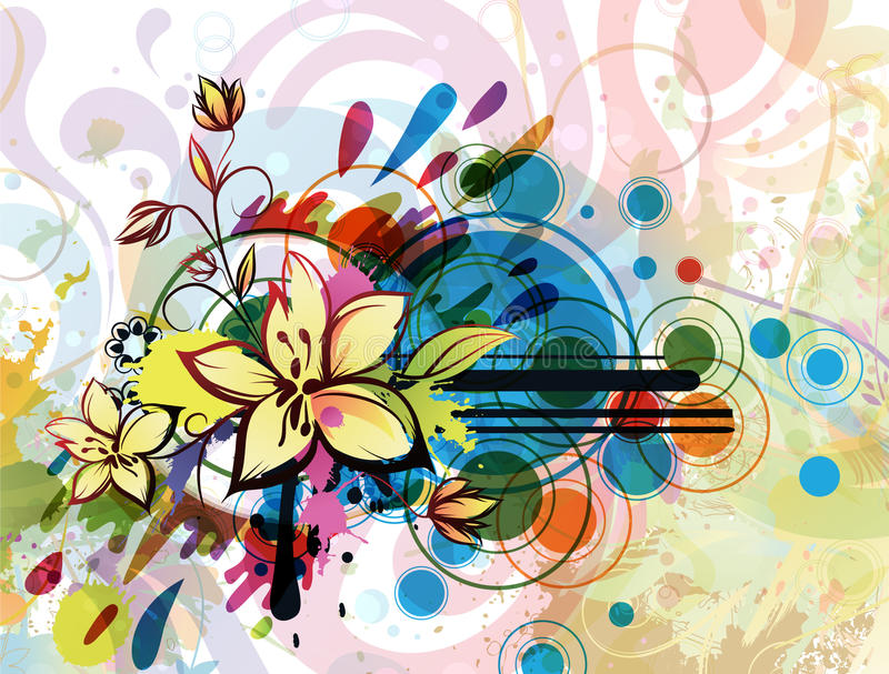 Circles and flowers stock illustration