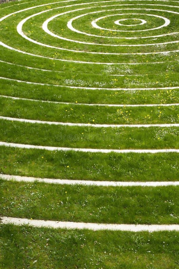 Circles in a green field stock photos