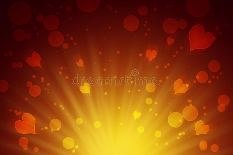 Circles and hearts yellow abstract background.Celebration. Love. Christmas positive background. Boke and hearts, rays of light. /Wedding. Love. Theater stock illustration