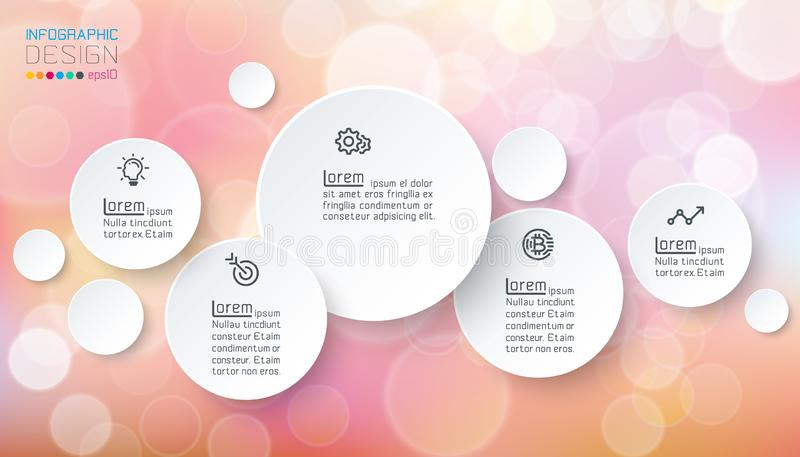 Circles infographics with bubbles soap. On pink background stock illustration