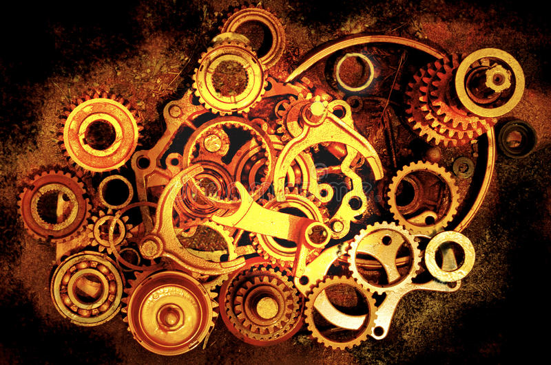 Circles. Noise reduced. this image was taken of gold and copper painted  out of a car gear box.nThe photo was saturated in CS6 , resubmitted after noise royalty free stock image