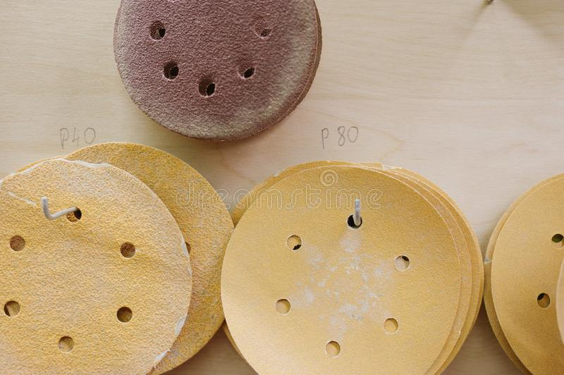 Circles for orbital sanders for wood. O n the photo royalty free stock images