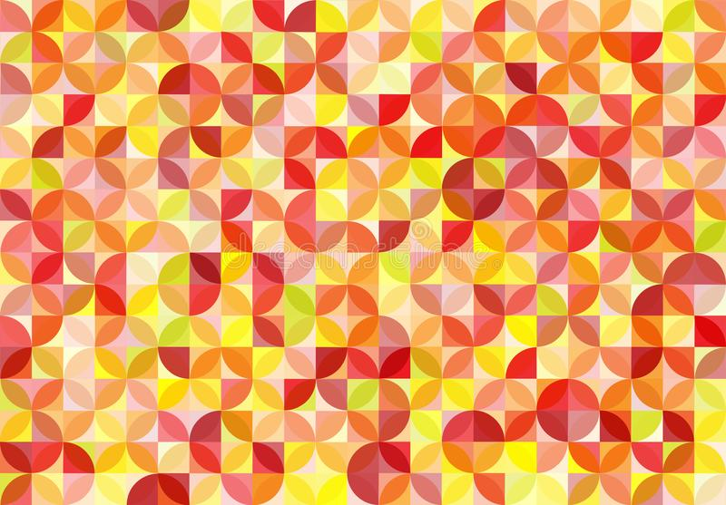 Abstract Seamless Red, Orange and Yellow Circles and Squares Pattern Background vector illustration