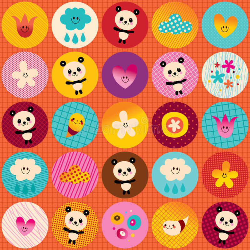 Circles pattern cute baby panda bears flowers clouds stock illustration