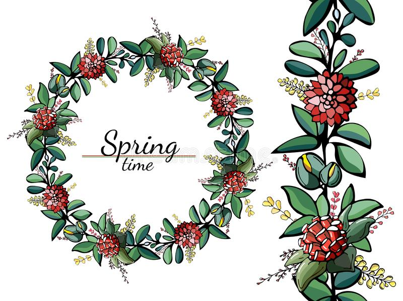 Circles and seamless pattern of bright spring flowers and leaves royalty free illustration