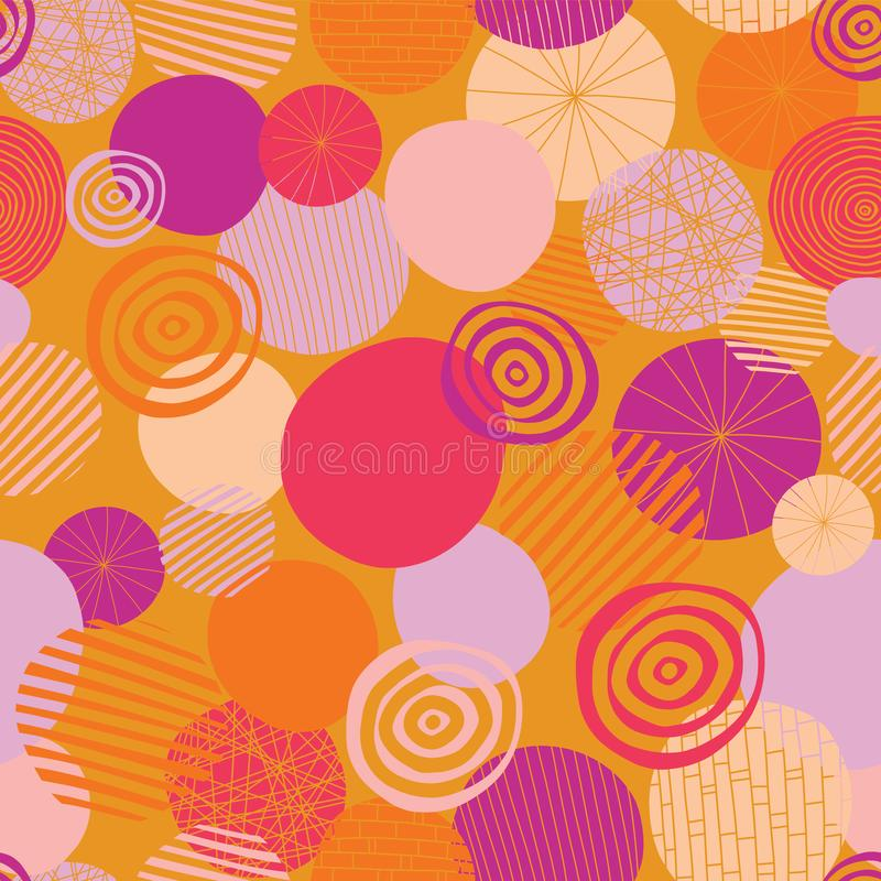 Circles vector seamless pattern. Abstract geometric dots background. Geometric doodle shapes pink, orange, coral, and peach on an vector illustration