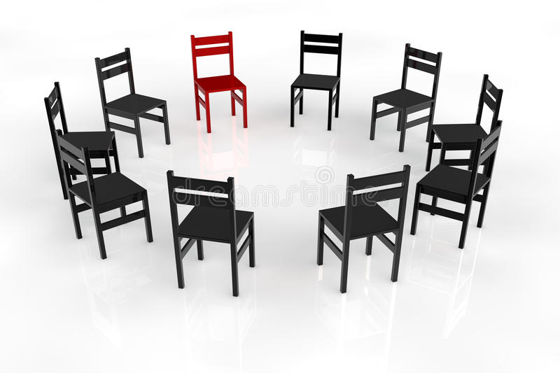 Circletime with chairs in a circle. For a psychotherapy vector illustration