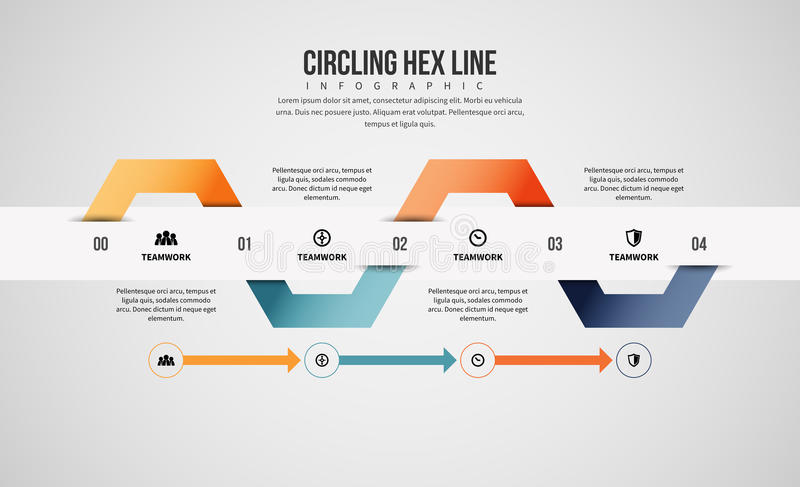 Circling Hex Line Infographic. Vector illustration of circling hex line infographic design element vector illustration