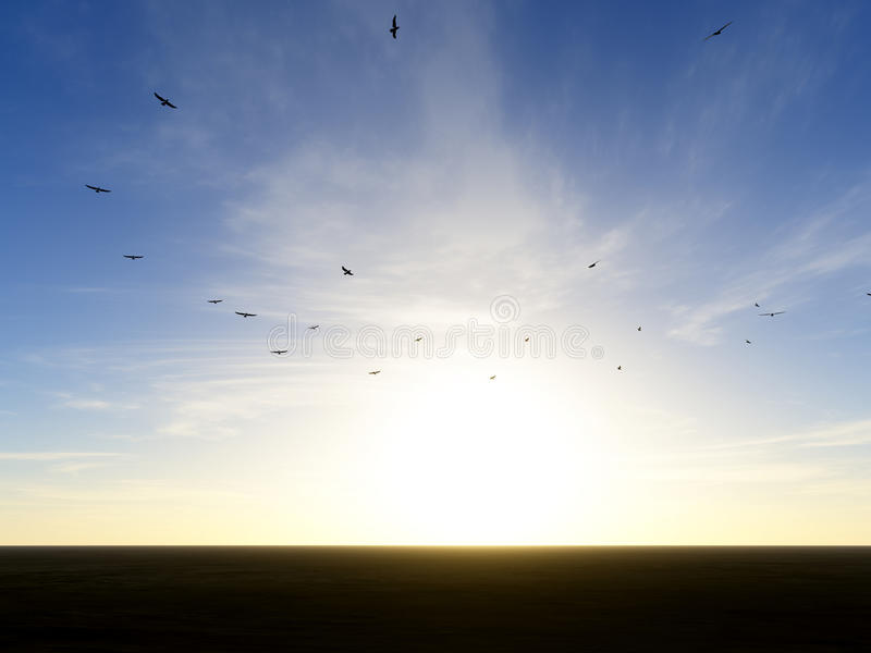 Circling vultures. Vultures circling above the desert stock illustration