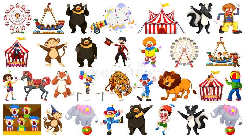 Circo ajustado com passeios e palhaços dos animais no fundo isolado ilustração royalty free