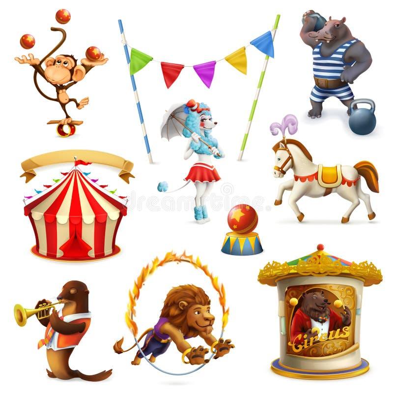 Circo, animales divertidos stock de ilustración