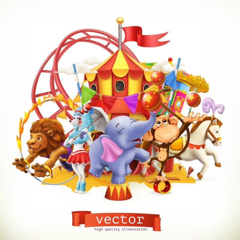 Circo, animales divertidos vector 3d ilustración del vector