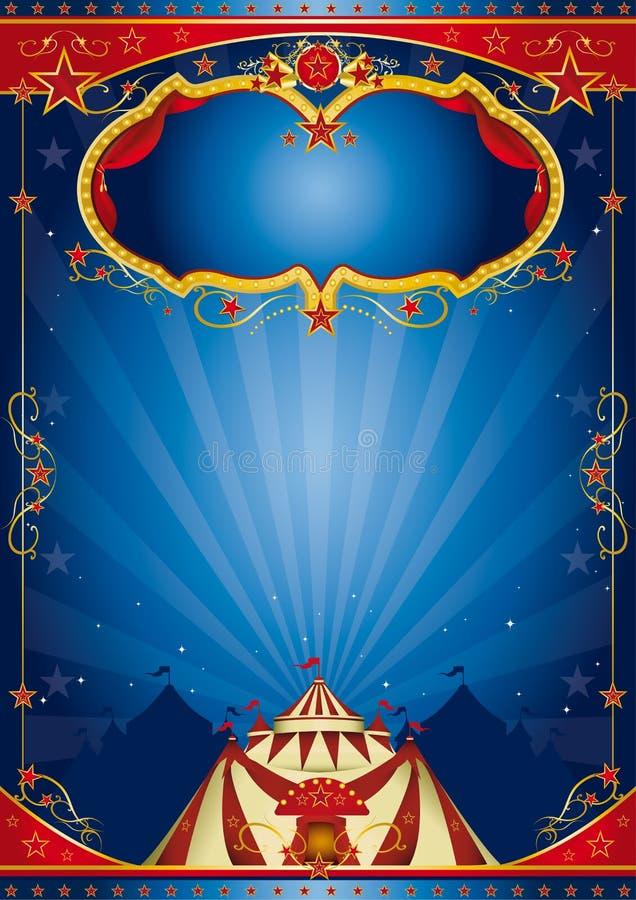 Circo azul del cartel stock de ilustración