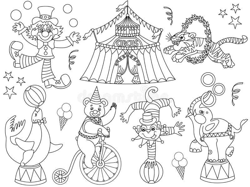 Circo blanco y negro del vector fijado con el payaso, el top grande y los animales de circo stock de ilustración
