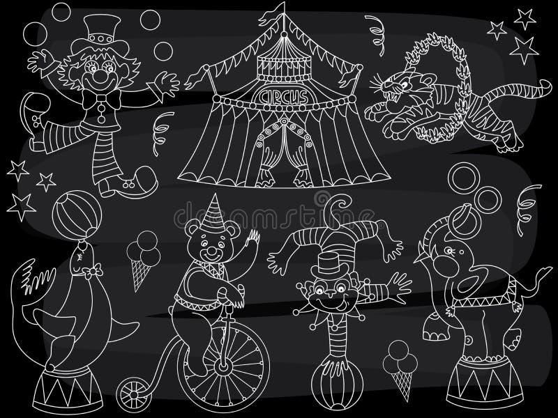 Circo de la pizarra del vector fijado con el payaso, los animales y el top grande ilustración del vector