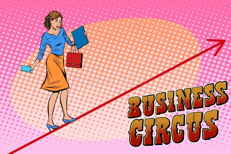 Circo del negocio del acróbata de la empresaria stock de ilustración