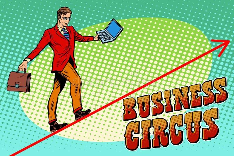 Circo del negocio del acróbata del hombre de negocios ilustración del vector