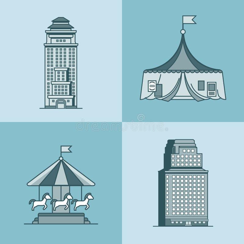 Circo del parque de las atracciones de la casa del rascacielos de la ciudad de la ciudad stock de ilustración