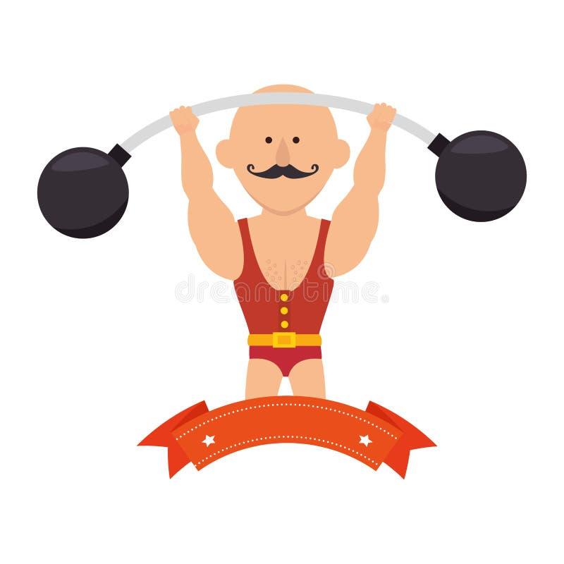circo dell'uomo forte con sollevamento pesi illustrazione vettoriale