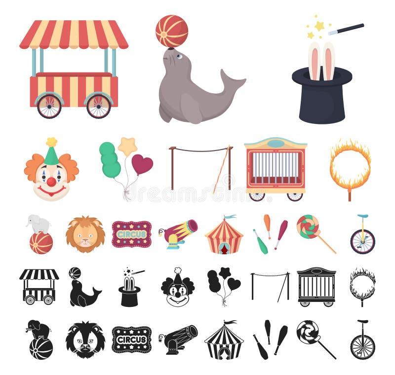 Circo e fumetto di attributi, icone nere nella raccolta stabilita per progettazione Illustrazione di web delle azione di simbolo  royalty illustrazione gratis