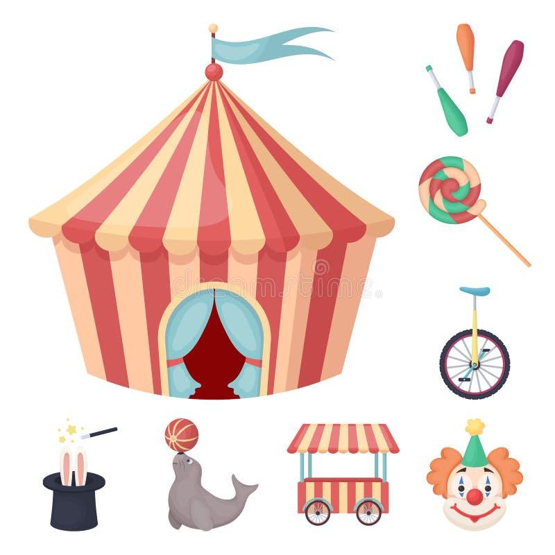 Circo ed icone del fumetto di attributi nella raccolta dell'insieme per progettazione Illustrazione di web delle azione di simbol illustrazione di stock