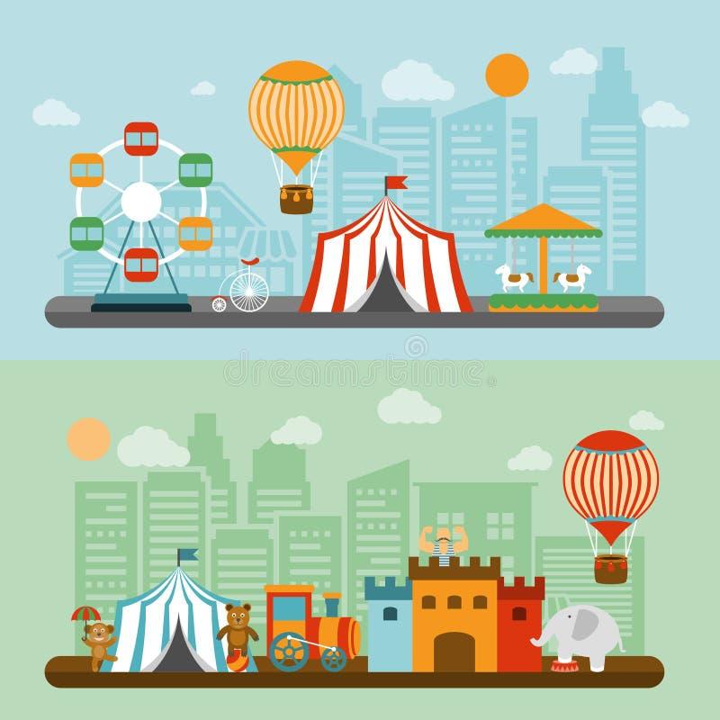 Circo en las banderas planas de la ciudad fijadas ilustración del vector