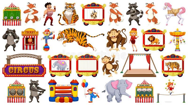 Circo fijado con paseos y payasos de los animales en fondo aislado ilustración del vector