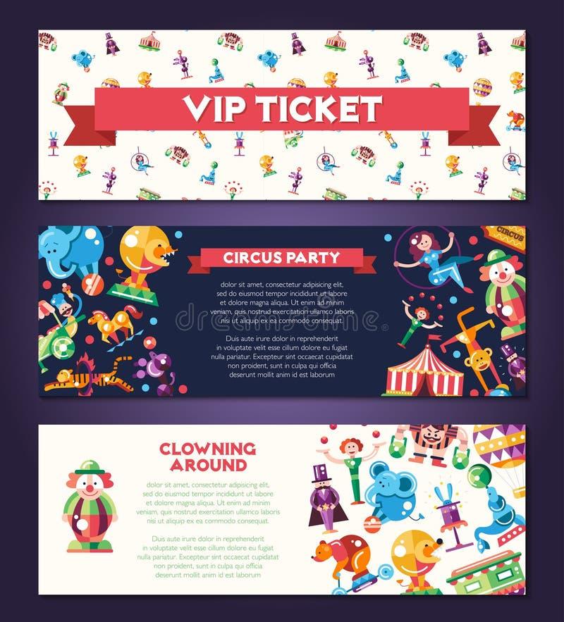 Circo, iconos del carnaval y banderas infographic de los elementos fijados libre illustration